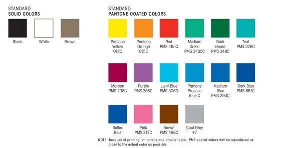 Standard Deluxe Emery Board Color Chart