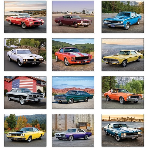 Monthly Scenes of Muscle Cars 2021 Calendar