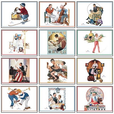 Monthly Scenes of Norman Rockwell 2021 Desk Tent Calendar
