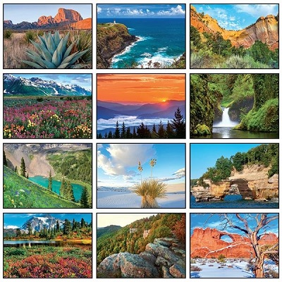 Monthly Scenes of Scenic 2021 Desk Tent Calendar