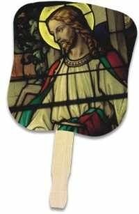 Church Fans with Jesus and Stained Glass Window Design