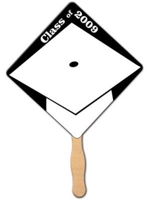 Graduation White Cap Hand Fan