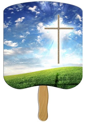 Cross Heavy Duty Religious Hand Fan