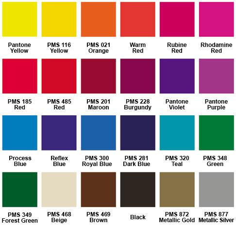 Standard Imprint Colors for Fans