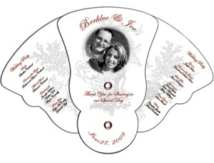 Four Part Expandable Curved Edge Wedding Fan