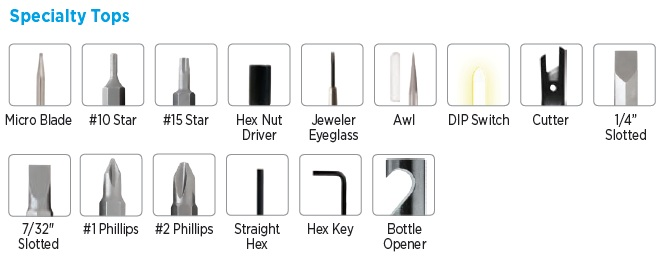 Specialty Tops for Pocket Screwdrivers